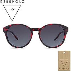 KERBHOLZ® Leopold | handgefertigte Sonnenbrille aus edlem Grenadillholz und natürlichem Celluloseacetat | Exklusives Bundle | mit Schlüsselanhänger aus Holz | schwarz/rot (Funky Red)