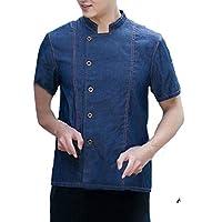 H&E Men Kitchen Single Breasted Pocket Loose Stand Neck Dungaree Denim Chefs Jacket Coat