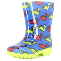 Dinosaur Hunter New Younger Boys/Childrens Blue/Green/Red PVC Wellington Boots. - Blue/Green/Red - UK Sizes 4-12
