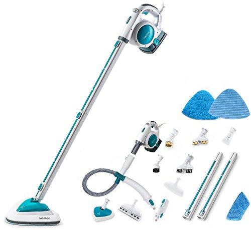 Neatec EUM18B Scopa a Vapore e Pulitore a Vapore Portatile Elettrico Multifunzione Professionale, Lavapavimenti a Vapore con Accessori(Blu)