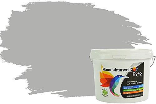 RyFo Colors Bunte Wandfarbe Manufakturweiß Delphingrau 3l - weitere Grau Farbtöne und Größen erhältlich, Deckkraft Klasse 1, Nassabrieb Klasse 1