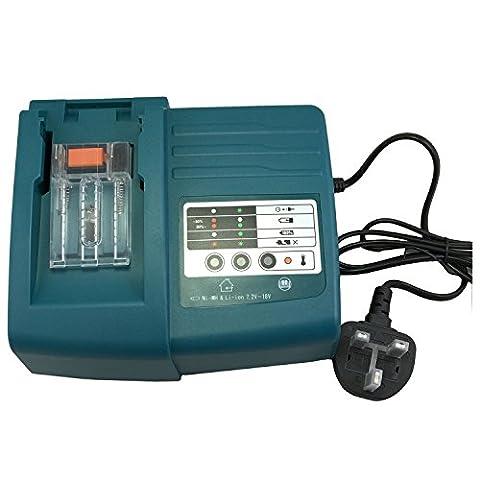 Replacement Makita MAK-CH01 Charger for Makita Tools 7.2V-18V Ni-MH, Ni-CD, LXT Li-ion tool Battery, BL1845, BL1840, BL1830, BL1815, BL1440, BL1430, BL1415 Series, Makita tool battery 1822, 1420, 1222, 1202, 1200, 9122, 9120, 9102, 9100, 9002, 9000, 7000, DC7100, DC7112, DC9700, DC9710, DC18RA, DC18SE, DC18SC, DC1803, DC1804, DC1201, DC1290, DC1410, DC1412, DC1413, DC1414, DC1470, DC1439, DC14SA Series, current 1.5 A, BL1830 Charging time 120 Min, BL1430 Charging time 90 Min (Volts: 7.2V - 18V)