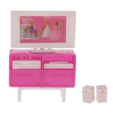 MagiDeal 1:12 Dollhouse Appareil électriques TV DVD Mobiliers pour Maison de Poupées Dolls