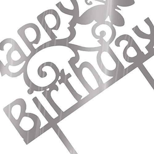 Censhaorme Quadrat Rund Alles Gute zum Geburtstag Brief-Kuchen-Deckel Acryl DIY Kuchen-Kuchen-Smash-Kerze-Partei-Handmade-Stick
