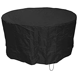 Woodside Black 2-4 Seater Round Waterproof Outdoor Garden Patio Furniture Set Cover Heavy Duty 600D Material 0.8m x 1.62m / 2.6ft x 5.3ft 5 YEAR GUARANTEE