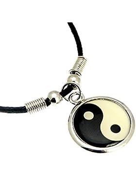Silber Farbe Metall Yin Yang Symbol Anhänger auf Schnur Halskette