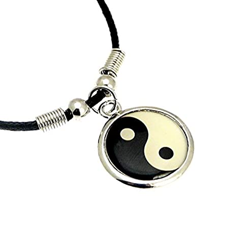 Silver Colour Metal Yin Yang Symbol Pendant on Cord Necklace