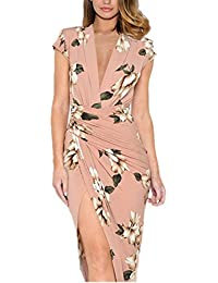 Ninimour Women's Floral Print Deep V Ruched Slit Bodycon Dress