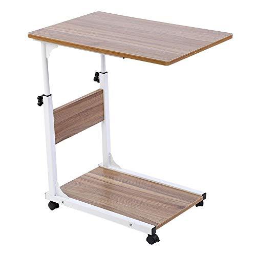 EBTOOLS Pflegetisch, 2-schichtig Verstellbarer Laptop-Tisch Rolltisch Sofatisch Beistelltisch mit Rollen, 50 * 35 * 55-80cm (Antike Eiche)