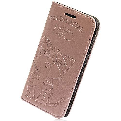 Kompatibel mit Samsung Galaxy A8 Plus 2018 Handyhülle, Herbests Premium Handy Schutzhülle Prägung Katze Muster Wallet Case Flip Hülle Brieftasche Ledertasche Handytasche Lederhülle Klapphülle,Rose Go