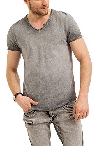 trueprodigy Herren T-Shirt V-Ausschnitt Grau Kurzarm Slim Fit