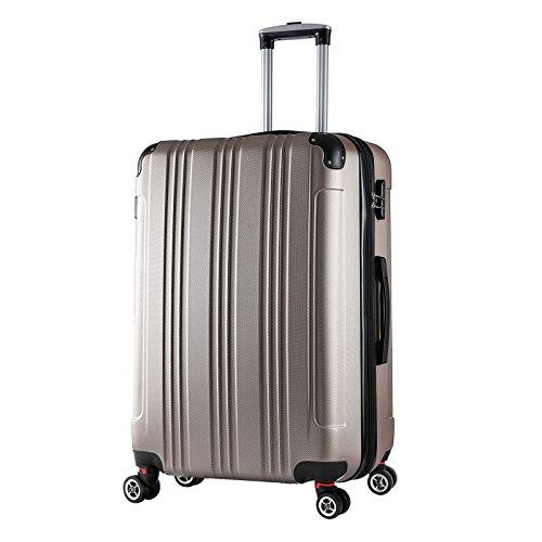 WOLTU RK4207ch, Reise Koffer Trolley Hartschale Volumen erweiterbar, Reisekoffer Hartschalenkoffer 4 Rollen, M/L/XL/Set, leicht und günstig, Champagne (XL, 76 cm & 110 Liter)