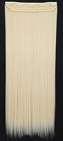 S-noilite® Mode Clip en Extensions de Cheveux Raides Longs Perruques Postiches 22 x 66cm blond platine