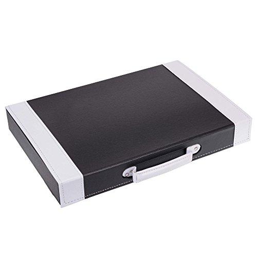 GRÄWE Besteckkoffer, leer - unbestückter Kunstleder-Koffer mit Einlagen für 30-teiliges Besteck, schwarz/weiß