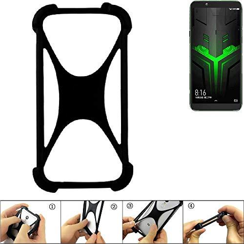 K-S-Trade Handyhülle für Xiaomi Blackshark Helo Schutz Hülle Silikon Bumper Cover Case Silikoncase TPU Softcase Schutzhülle Smartphone Stoßschutz, schwarz (1x)