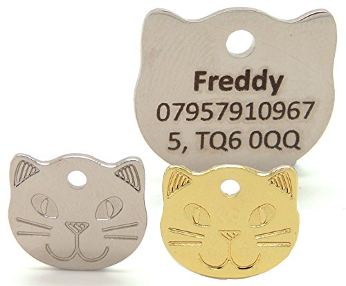 engraved-cat-face-pet-tags-bold-contrasting-text-22mm-gold-or-silver-cat-id-tags-personalised-with-h