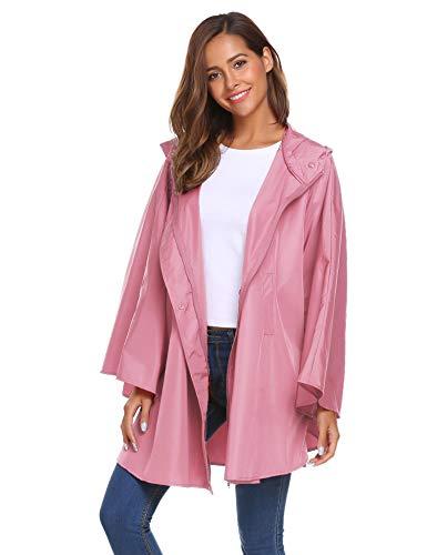 Damen Regenjacke Wasserdicht Windjacke Regenponcho Regencape Leichter Regenbekleidung Atmungsaktiv Windbreaker mit Kapuze ()