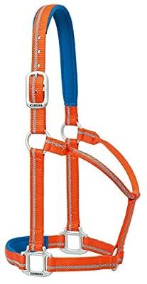 Weaver Leder Nylon gepolstert reflektierend Festeingesteller Horse Halfter, orange, groß