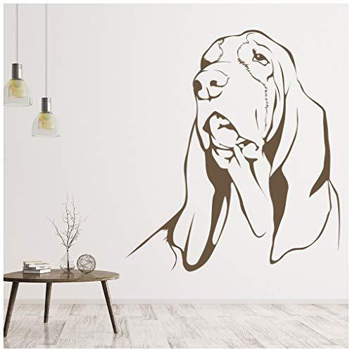 azutura Basset Hound Hund Wandtattoo Haustier Tiere Wand Sticker Kinder Hunde Wohnkultur verfügbar in 5 Größen und 25 Farben Mittel Basalt Grau -