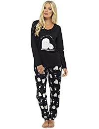1245ee0abe Ladies Fun and Cute Animal Print Cosy Long Pyjamas Lounge Set - Sizes 8-