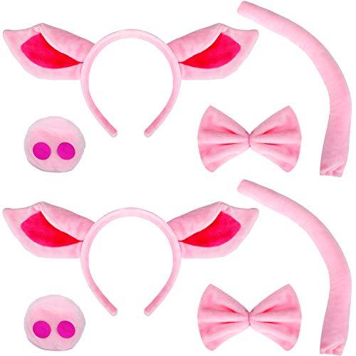 WILLBOND 8 Stücke Schwein Kostüm Set, inklusiv Schwein Ohr Stirnband, Künstlicher Schwein Nase, Fliege und Schwänzen für Halloween Party Zubehör (Schwanz Kostüm Zubehör)