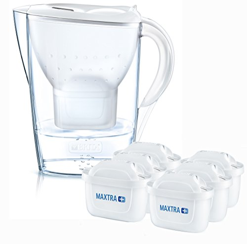 BRITA Marella Cool Water Filter Jug and Cartridges Half Year Pack, White (Pack of 6)