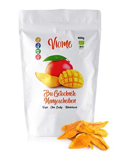 Viome Getrocknete Bio Mango, ungeschwefelte und ungezuckerte Mangoscheiben, 1kg (1000g)