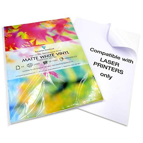 EVGv Fogli A4di qualità, impermeabili, in vinile, opachi, autoadesivi, per stampanti laser, confezione da 10, color bianco opaco