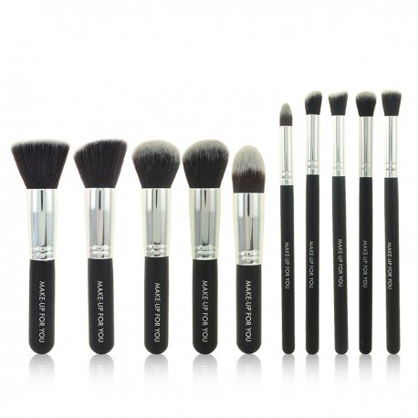 Set complet 10 pinceaux maquillage professionnels - Noir