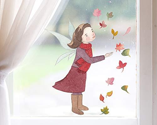 TinyFoxes Fensterbild Herbstfee - Zauberhafte Kinderzimmerdeko - Wiederverwendbar und ohne Kleber