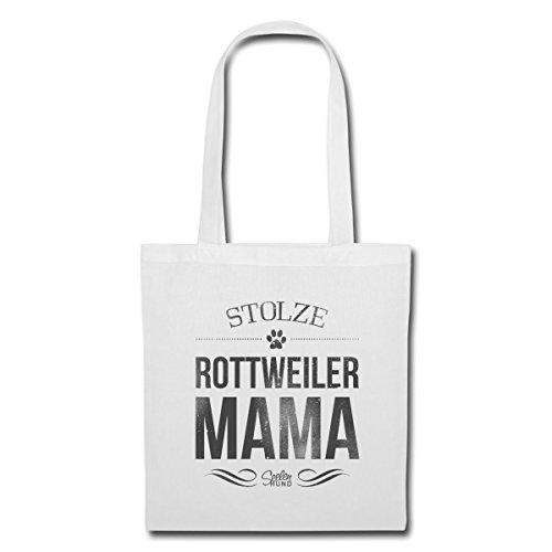 Spreadshirt Stolze Rottweiler Mama Rotti Frauchen Stoffbeutel Weiß