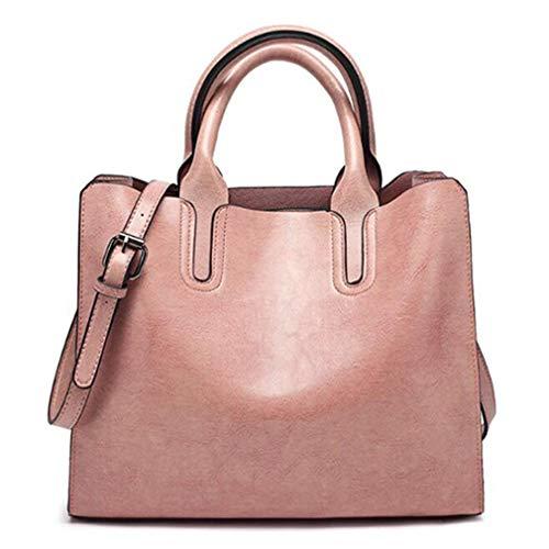 Öl Leder Handtaschen für Frauen Trunk Tote Schultertasche pink 32x12x25cm