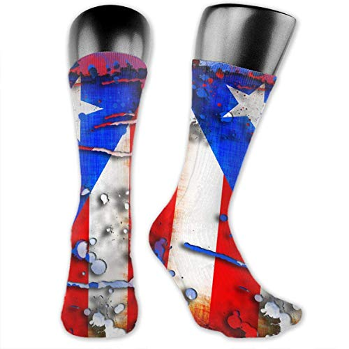 Quecci Sportsocken,Kompressionsstrümpfe Socken Puerto Rico Flag Splashing Unisex Crew Athletic Sock Running Socks Soccer Socks -