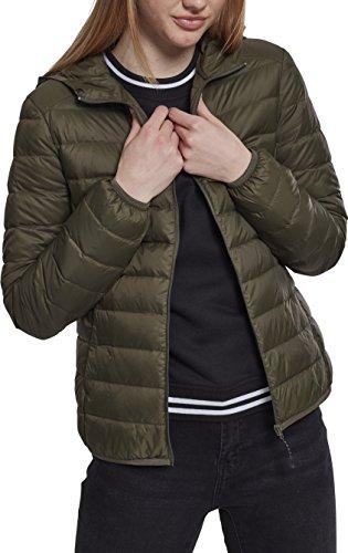 Urban Classics Damen Jacke Ladies Basic Hooded Down Jacket, Grün (Darkolive 00551), Large (Herstellergröße: L)