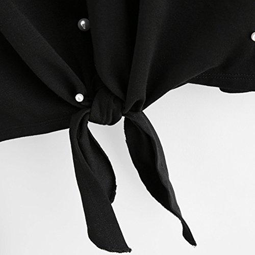 Maniche Lunghe Felpe per Donna - Moda Perle Decorate 2 In 1 Pullover Collo Rotondo Loose Casual Caldo Autunno Inverno Cappotto Pull Giacca S-XL Nero Nero B