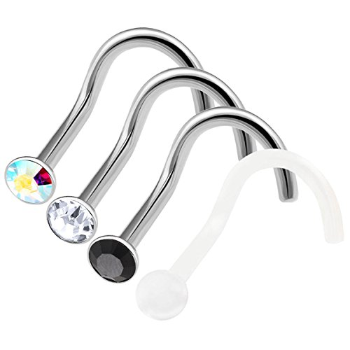 4 Stück nasenpiercing stecker chirurgenstahl 1mm piercing nase set nasenstecker Nasen Piercing edelstahl BFHP - CL BK AB - Bk Mini-anhänger