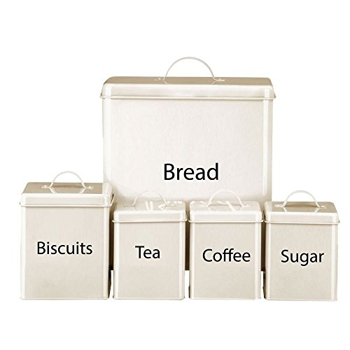 15pc Cream Tea Coffee Sugar Biscuit Bread Bin Canister Set Kitchen