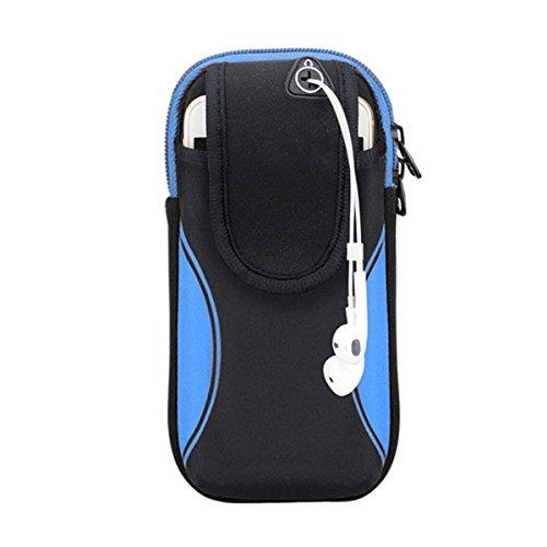 YUNGUANG Sport-Armband, Laufende Turnhalle Universal-Smartphone-Arm-Tasche Wasserdicht mit Kopfhörer-Loch Zwei Größen Choices-im Freien Radfahren (Color : Black- Blue, Größe : Suitable for 6