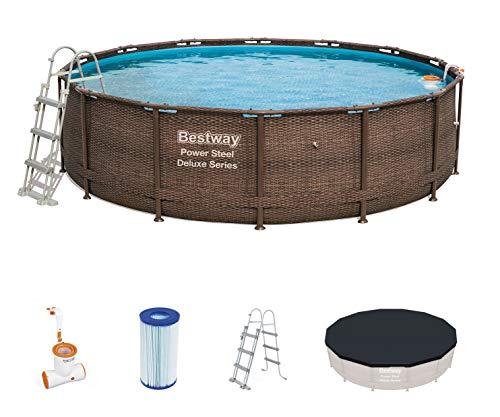 Bestway - Piscine hors sol ronde effet rotin Power Steel Deluxe, diamètre 427 cm hauteur 107 cm, filtre à cartouche immergé Skimatic, échelle de sécurité, bâche de protetion et tapis de sol