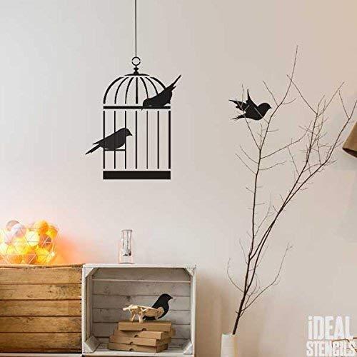 Vogel Käfig Vögel Wand Deko Kinderzimmer Schablone Wandfarbe Stoff und Möbel, wiederverwendbar, Heim Dekoration, Kunst Handwerk Stempel - M/Cage/20x37cm
