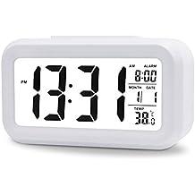 """PTCM Digital despertador,5.3 """"smart, temperatura y fecha, Simple y silencioso w LED alarma reloj visualización de fecha, despertador digital repetición, repetición Snooze y Sensor de luz + luz nocturna Reloj digital alarma snooze (Blanco)"""