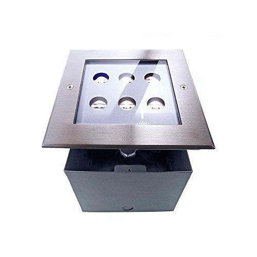 Spot extérieur encastrable carré sol à LED asymétrique, AC 220–240 V/50–60 Hz, 6 W, acier inoxydable, 45 °, IP67, 6000 K EEK : A