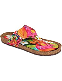 Colour Me Mad Green & Orange Printed, Natural Cork, Washable, All Weather, Vegan, Made in India, PETA Certified, Women Sandals