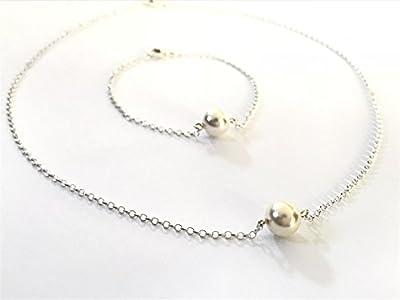 Parure collier ras du cou et bracelet perle nacrée blanche de swarovski chaîne diamantée argent 925