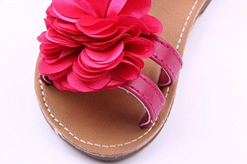 xhorizon® KL Y240 Orné De Fleur Souples Sandales Chaussures Pour Fille Tout-petit Bambine Y274 Rose Rouge