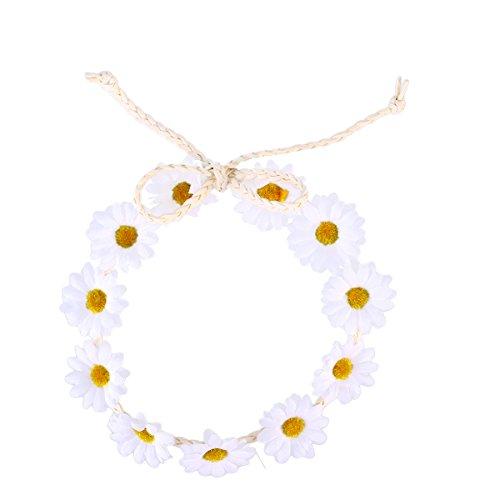 FRCOLOR Sonnenblume Krone Daisy Blume Stirnband Haar Kranz Braut Kopfschmuck Festivals Haarband (weiß)