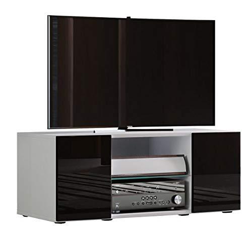 VCM Lowina Poli Fin 95 Meuble TV Bois, Blanc/Noir, 40 x 95 x 36 cm