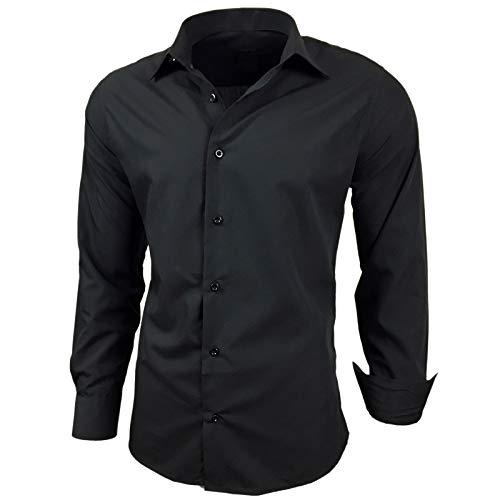 Kontrast Business Anzug Freizeit Polo Slim Fit Figurbetont Hemd Langarmhemd R-44, Farbe:Schwarz;Größe:6XL