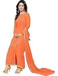 MF Next New Designer Orange Georgotte Embroidered Heavy Anarkali Suit