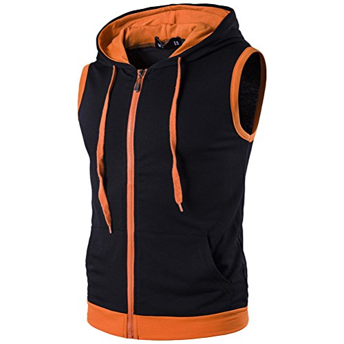 Zhuhaitf weich Men's High Quality Sleeveless Drawstring Hoodies Fitness Casual Top Black